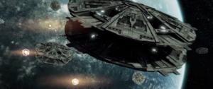A Cylon fleet bombards Picon from orbit.