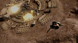 Apollo flying away from the Cylon tylium mine as it begins to explode