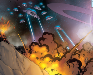 Cylon Raiders launch a second wave against the Colonial Resistance base on Cache (Classic Battlestar Galactica Vol. 2 #5).