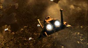 Galactica provides cover fire while the civilian Fleet escapes