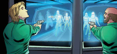 Starbuck and Xam face holographic Centurions in Galactica's laser range (Classic Battlestar Galactica Vol. 2#7).