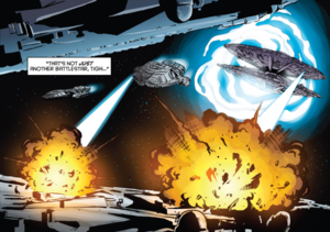 The Colonial Resistance from an alternate reality save Galactica from certain destruction (Classic Battlestar Galactica Vol. 2#5).