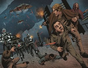 Cylons overrun Cygnus for its tylium resources (Battlestar Galactica Annual 2014).