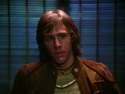 "Cadet Cree prior to undergoing a Cylon brain probe (TOS:""TheGunonIcePlanetZero,PartI"")."