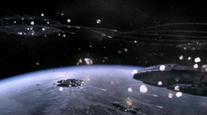 Colonial battlestars engage Cylon forces during Operation Raptor Talon