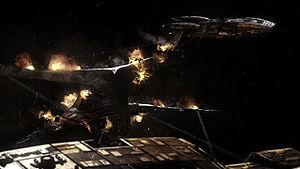 Galactica and Pegasus engage a basestar