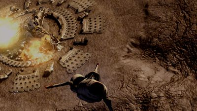 """Lee Adama destroys the Cylon's tylium mining facility during the Battle for the Tylium Asteroid (TRS: """"TheHandofGod"""")."""